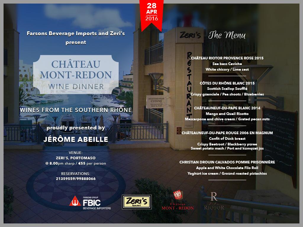 Mont Redon - Wine Dinner at Zeris