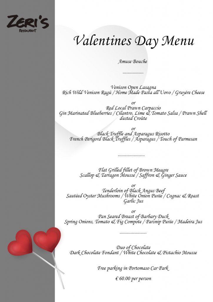 Valentines Day Menu Zeris Restaurant